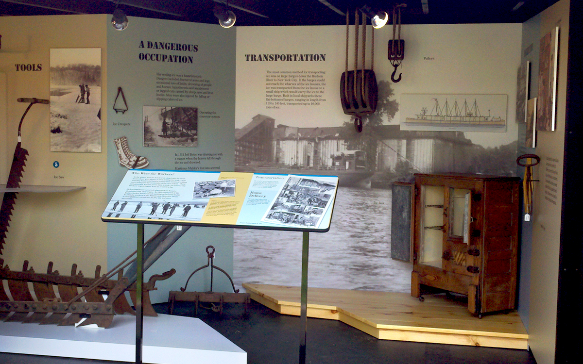 Ice Harvesting museum exhibit with custom graphics, platforms and reading rail