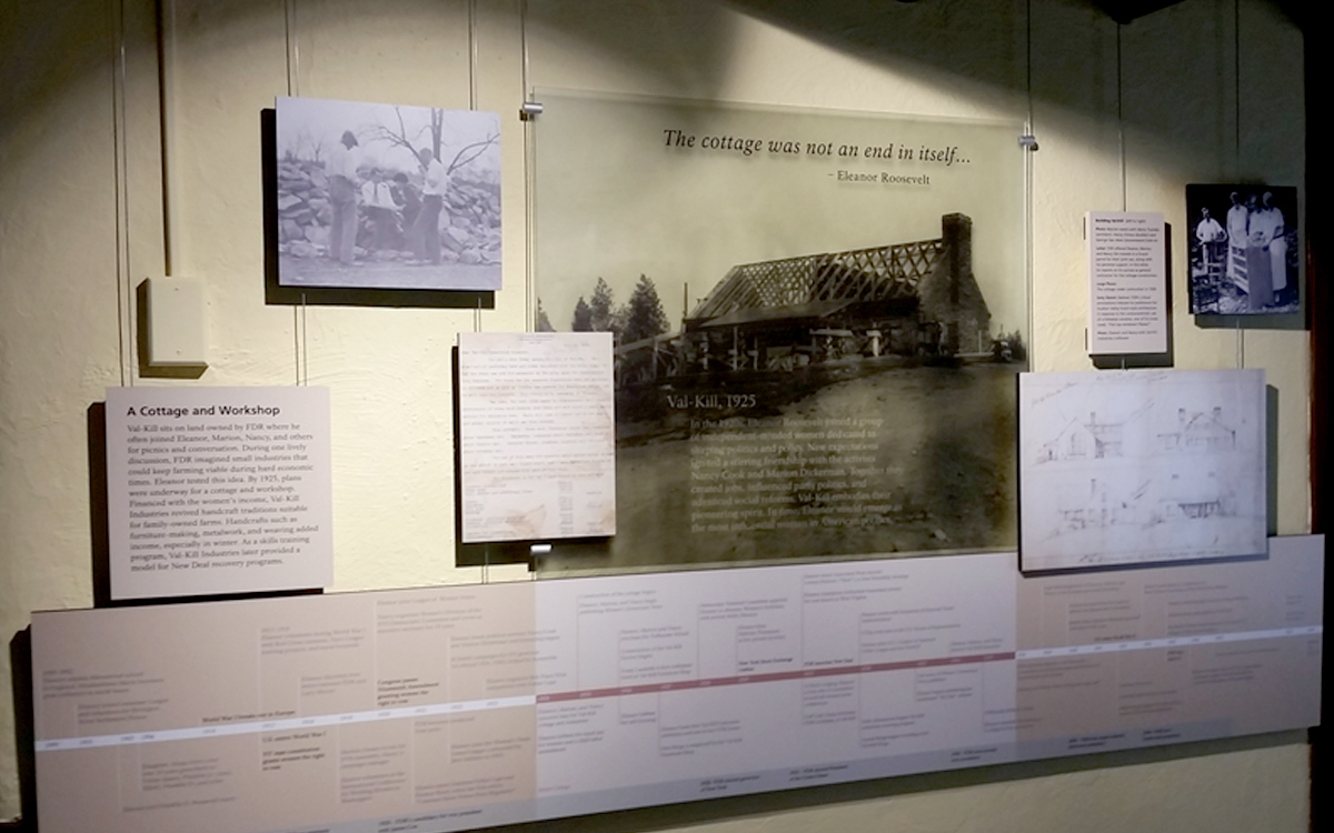 Cable-hung graphics and timeline for the Eleanor Roosevelt Val-Kill Cottage museum exhibit
