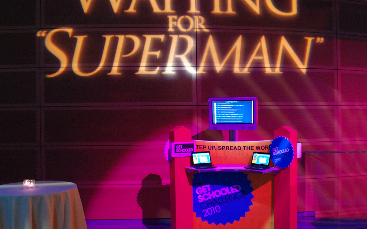 Custom fabricated kiosk display with Waiting for Superman projection