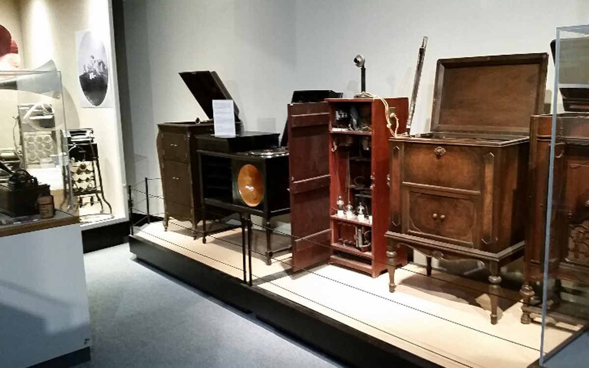 Custom built display stage with antiques and display cases