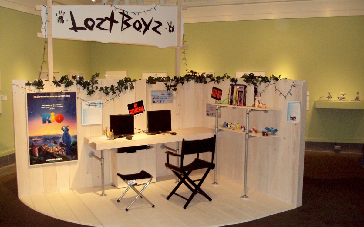 Lost Boyz interactive museum exhibit featuring a 3D artist's studio replica for the Ice Age and Rio movies by Blue Sky Studios