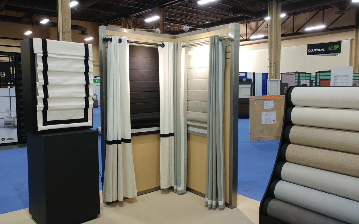 trade show exhibit booth custom display of blinds and curtains with lighting for Phase II