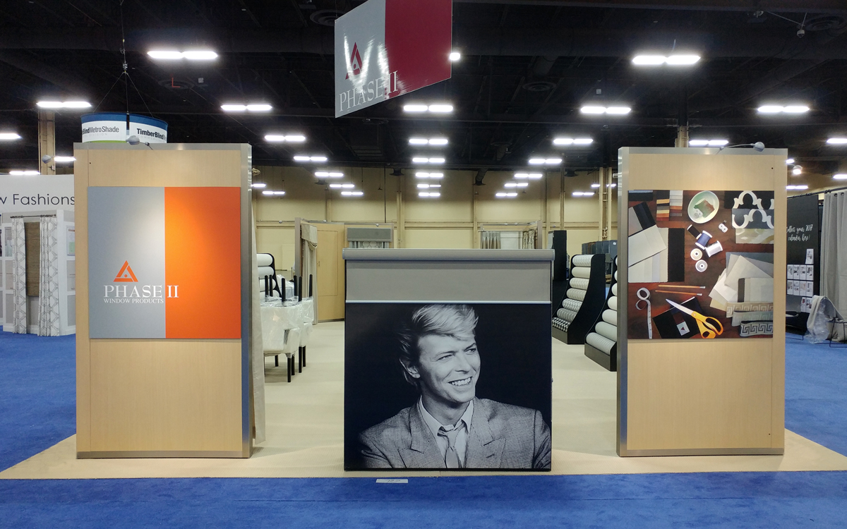 David Bowie graphic in trade show exhibit booth for Phase II