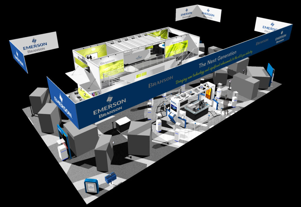 Branson trade show booth 3D modeled with CAD software.