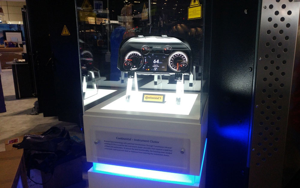 Display case with custom LED lighting for Emerson trade show booth