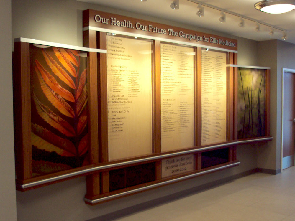donor signage board with wood and decorative panels