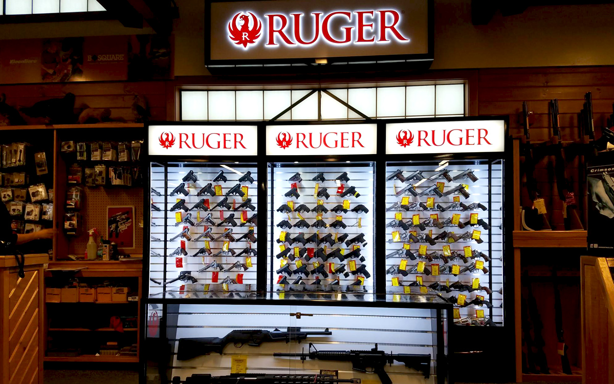 custom display cases for guns in ruger store