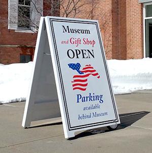 sandwich board sign, parking sign
