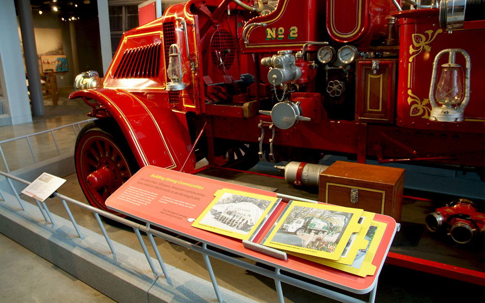 Interactive display in front of fire truck