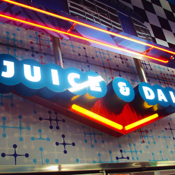 Juice and Dairy lighted sign with dimensional letters for a permanent store fixture at Flory's Deli