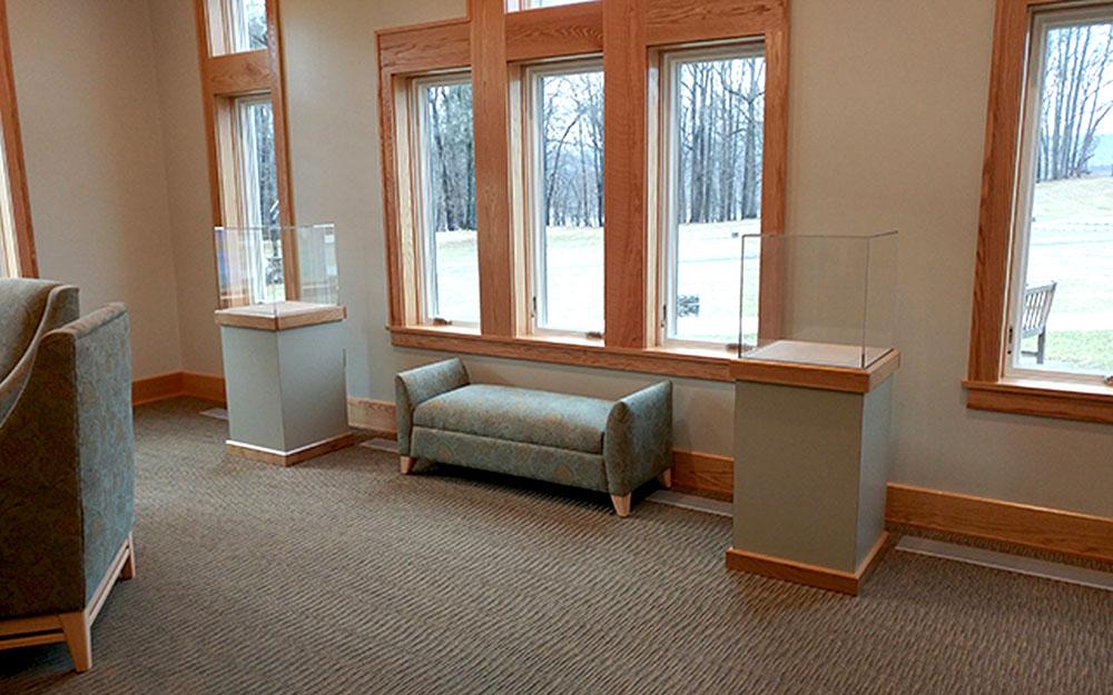 acrylic vitrine display cases with wood trim