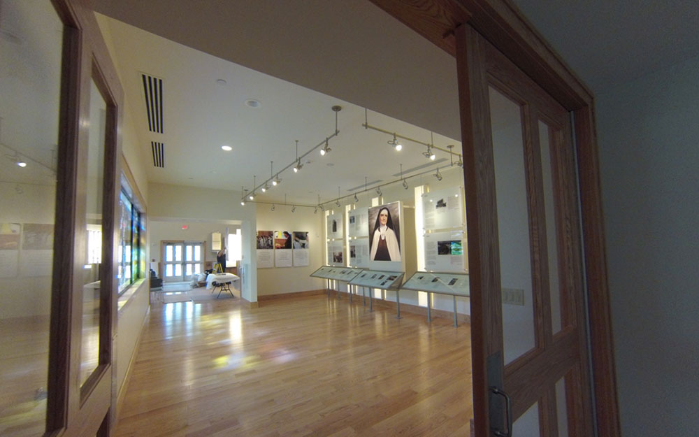 custom display cases with graphic panels at the Mother Angeline Heritage Center