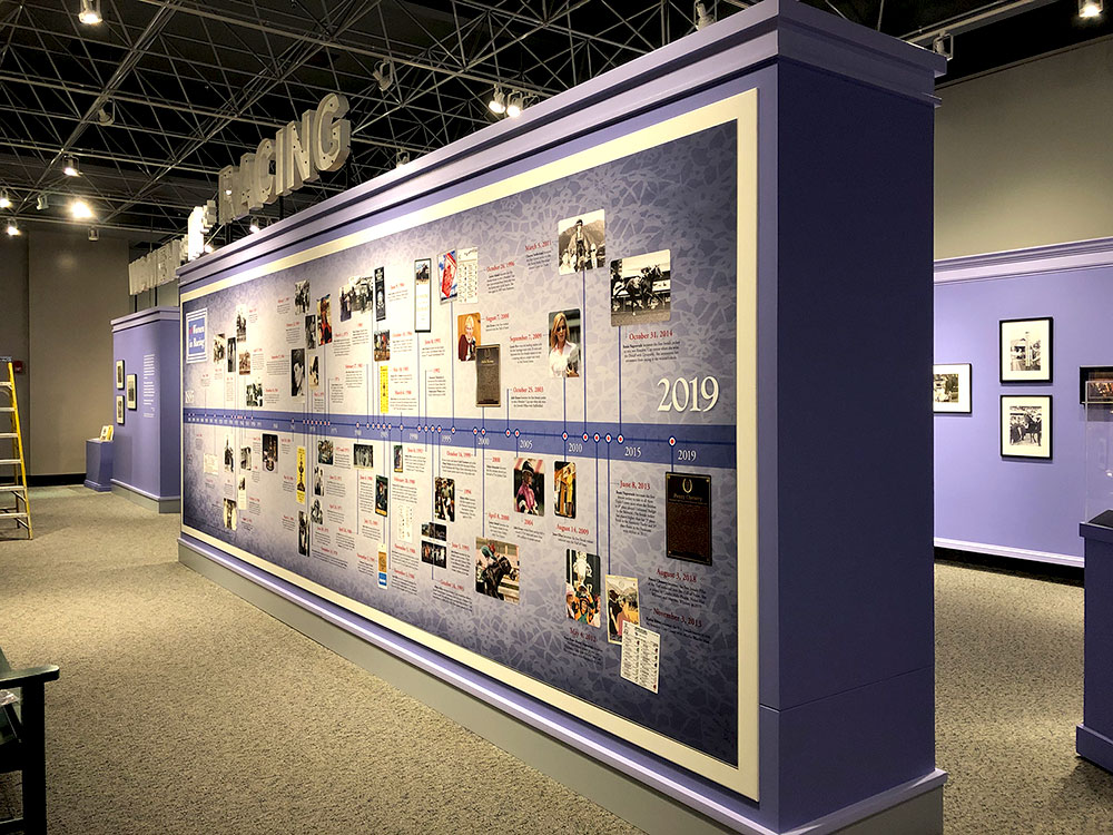 Museum exhibit time line graphic wall painted purple for Women in Racing exhibition
