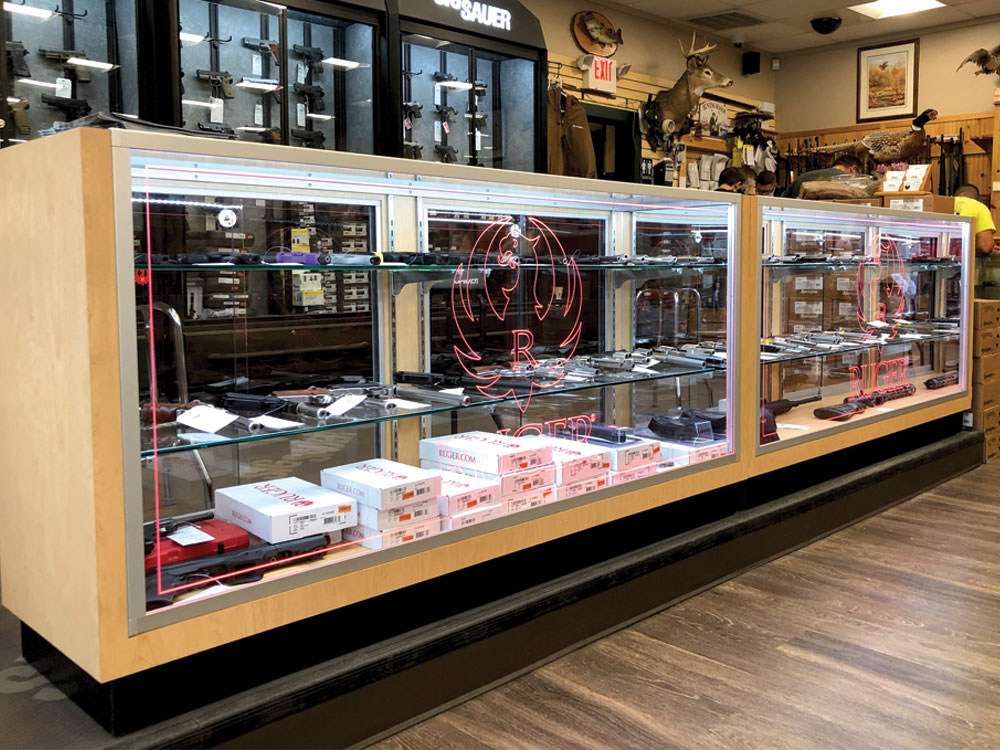custom LED logo display cabinets for retail
